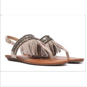 Report Laufer Boho Fringed T-strap sandal Sz 8.5